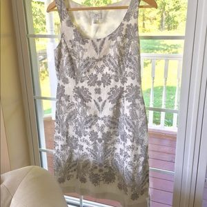 LOFT Sleeveless Cream & Gray Dress Flowers 6